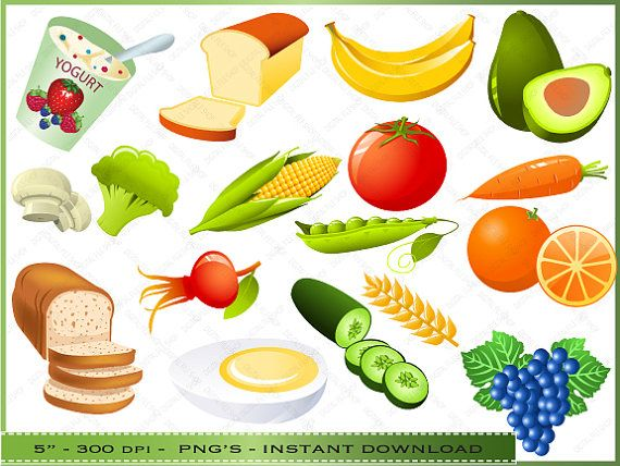 Food Clipart Digital Clip Art of Healthy Foods by DigitalFileShop ...
