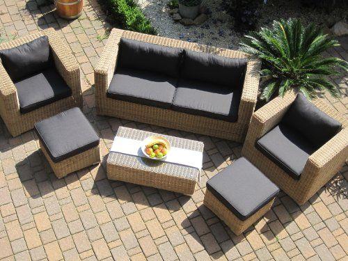 Lounge Wohnlandschaft Sofa 2 Sessel Tisch 2 Hocker Rattan - lounge gartenmobel mit esstisch