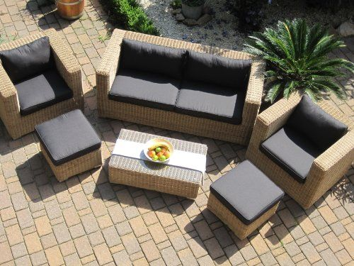 Lounge Wohnlandschaft Sofa 2 Sessel Tisch 2 Hocker Rattan - loungemobel garten grau