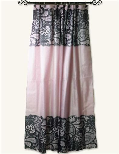 PINK SHOWER CURTAIN WITH BLACK LACE