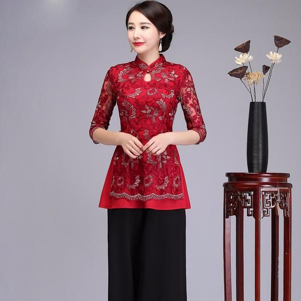 16a42f9d73589f New Red Female Chinese Vintage Embroidery Flower Tops 2018 Spring Lace One  Button Shirt Elegant Mandarin Collar Blouse M-4XL