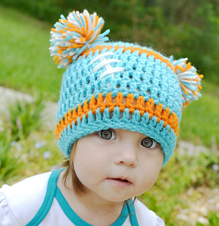 Crocheted Baby Miami Dolphins Football Beanie Baby