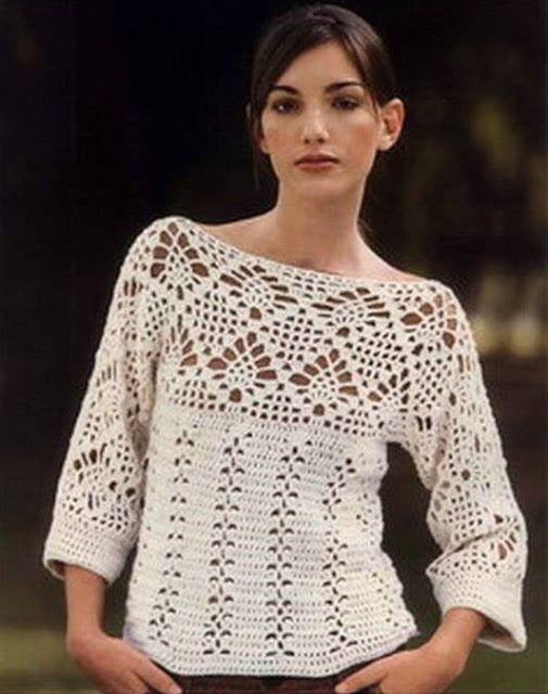 Patrón #683: Suéter con manga Kimono a Crochet #ctejidas http://blgs ...