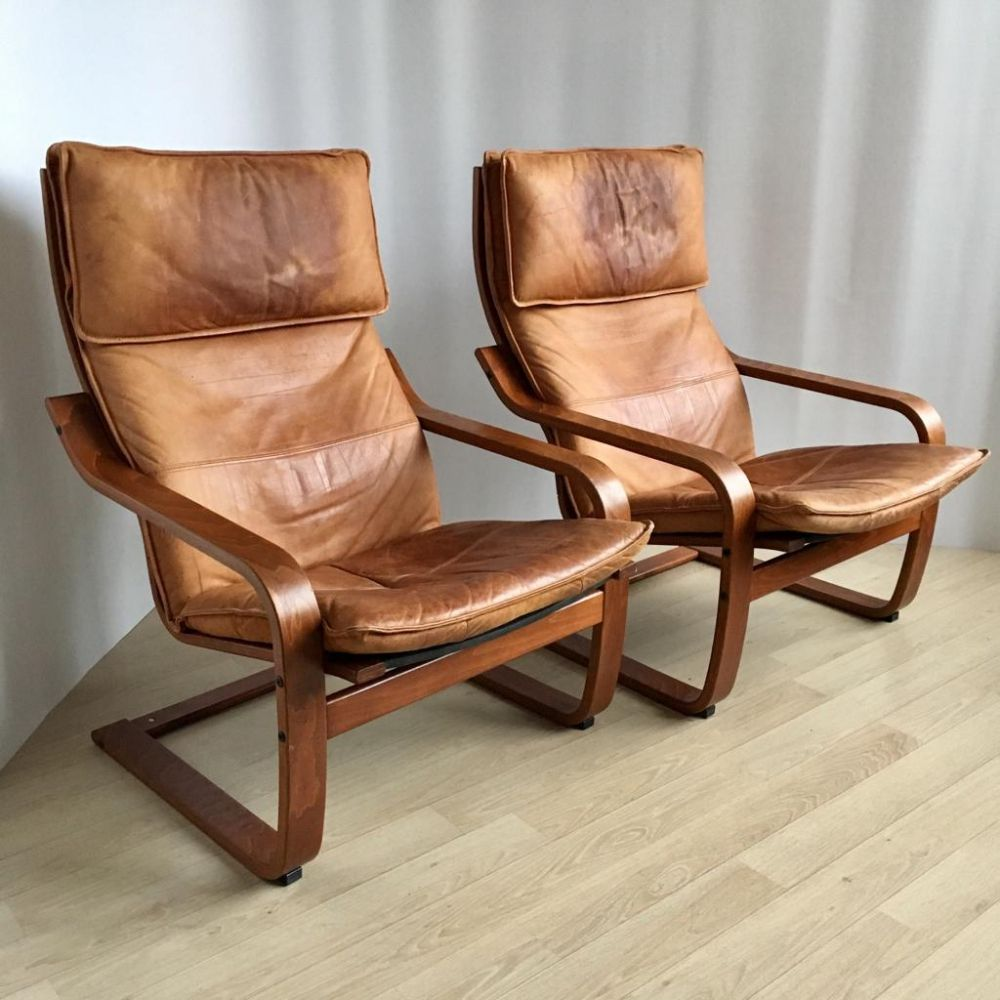 For Sale Pair Of Vintage Cognas Leather Poang Chairs By Noboru Nakamura For Ikea 1999 Ikea Poang Chair Vintage Leather Chairs Ikea Chair