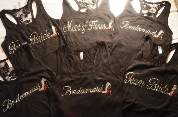 9 Bridal Party Lace Tank Top Tee Shirts  Bride by uniqueandtrendy, MOZtrend