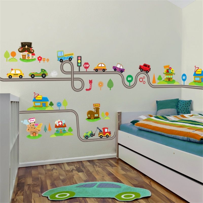 cartoon cars highway track wall stickers for kids rooms on wall stickers for kids id=31247