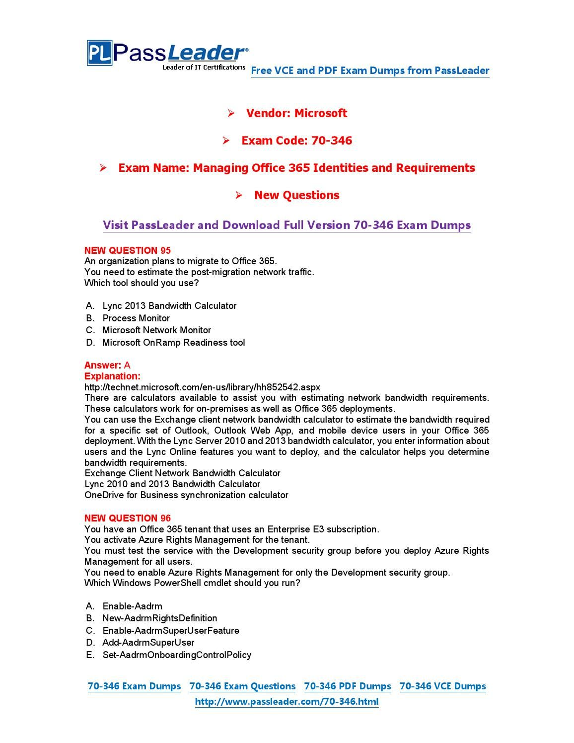New 70 346 exam dumps with pdf and vce download 95 end 70 346 new 70 346 exam dumps with pdf and vce download 95 xflitez Choice Image