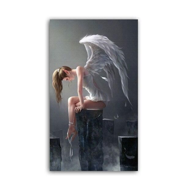 Photo of WANGART Larger Size Modern Angel Wings Black And White Anime Poster  Oil Painting Wall Art Pictures For Living Room Home Decor – 50x85cm no frame / jy1693