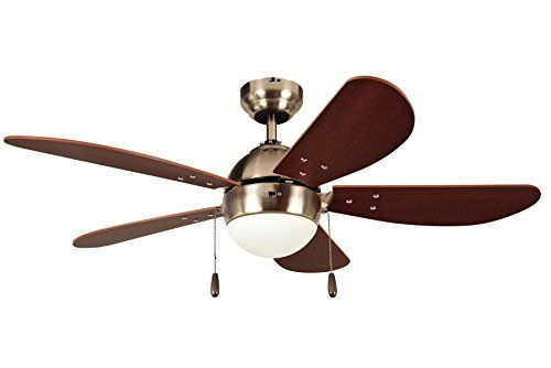 Litex E Pb42sn5c Paxon 42 Satin Nickel Ceiling Fan With Five Dark Walnut Fan Blades Frosted Glass And Single Light Kit Ceiling Fan Unique Ceiling Fans Fan Light Kits