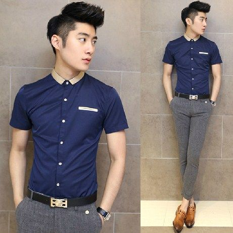 2017 Newest Men Summer Clothing Contrast Collar Short Sleeve Shirt Slim Casual Office 24 88