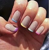 Colorful French tip nails
