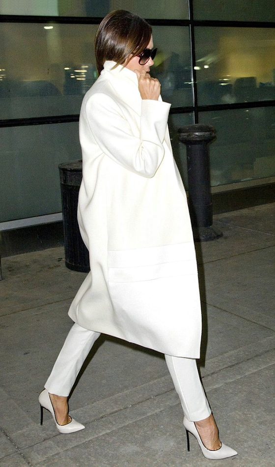 My style icon for sure. Airport Look: Victoria Beckham | Winter White
