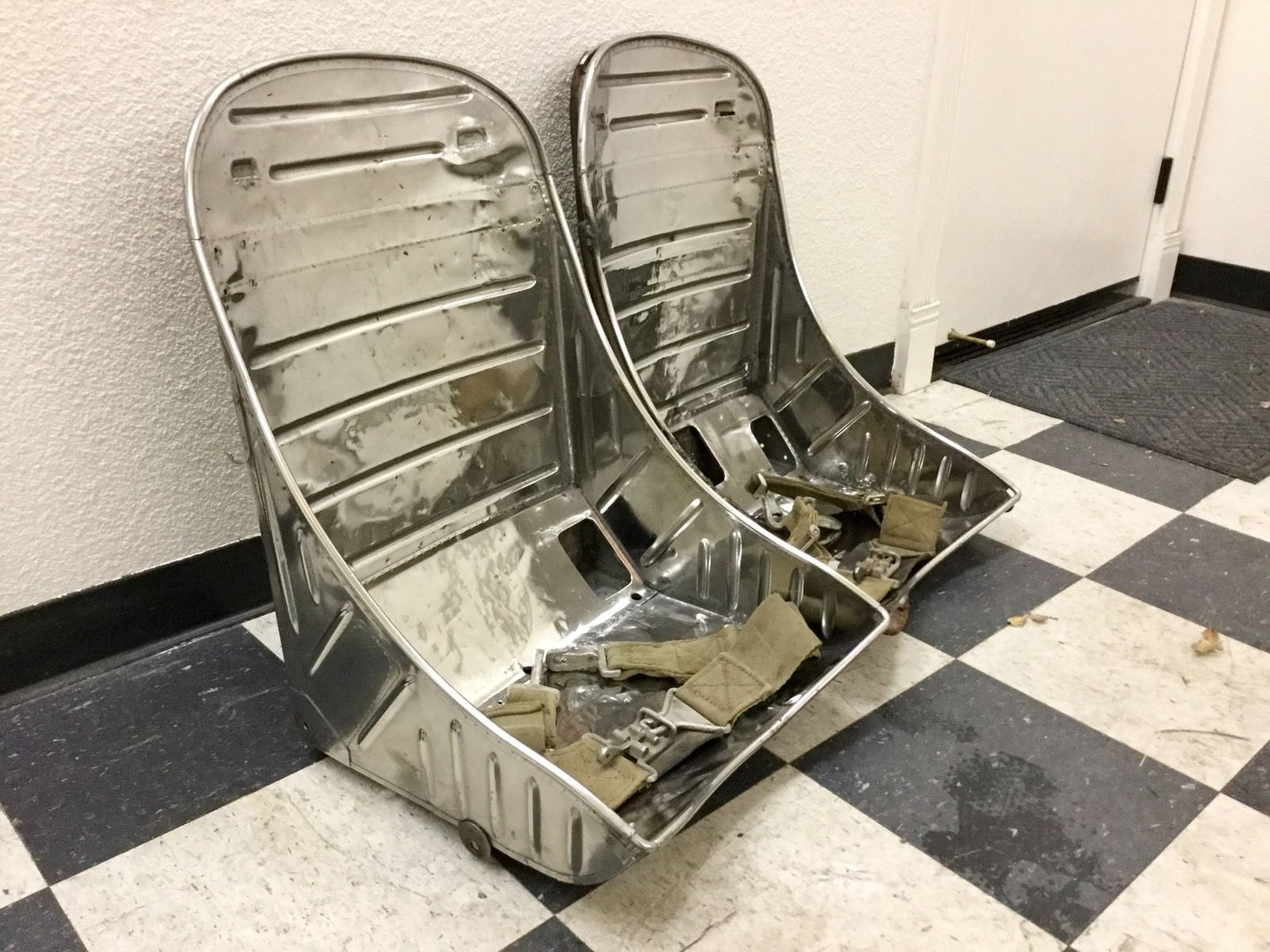 Original Very Rare WWII P 38 Stainless Steel Bomber Aircraft Seats