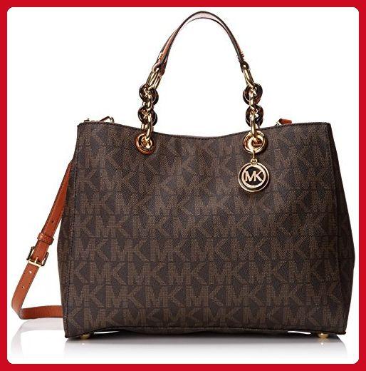ff394e6af8a081 Michael Kors Cynthia Large Satchel Brown Mk Signature PVC Shoulder Bag -  Top handle bags (*Amazon Partner-Link)