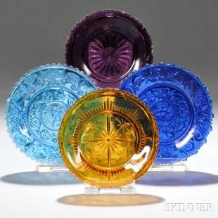Four Assorted Colored Pressed Lacy Glass Cup Plates - Current price: $100