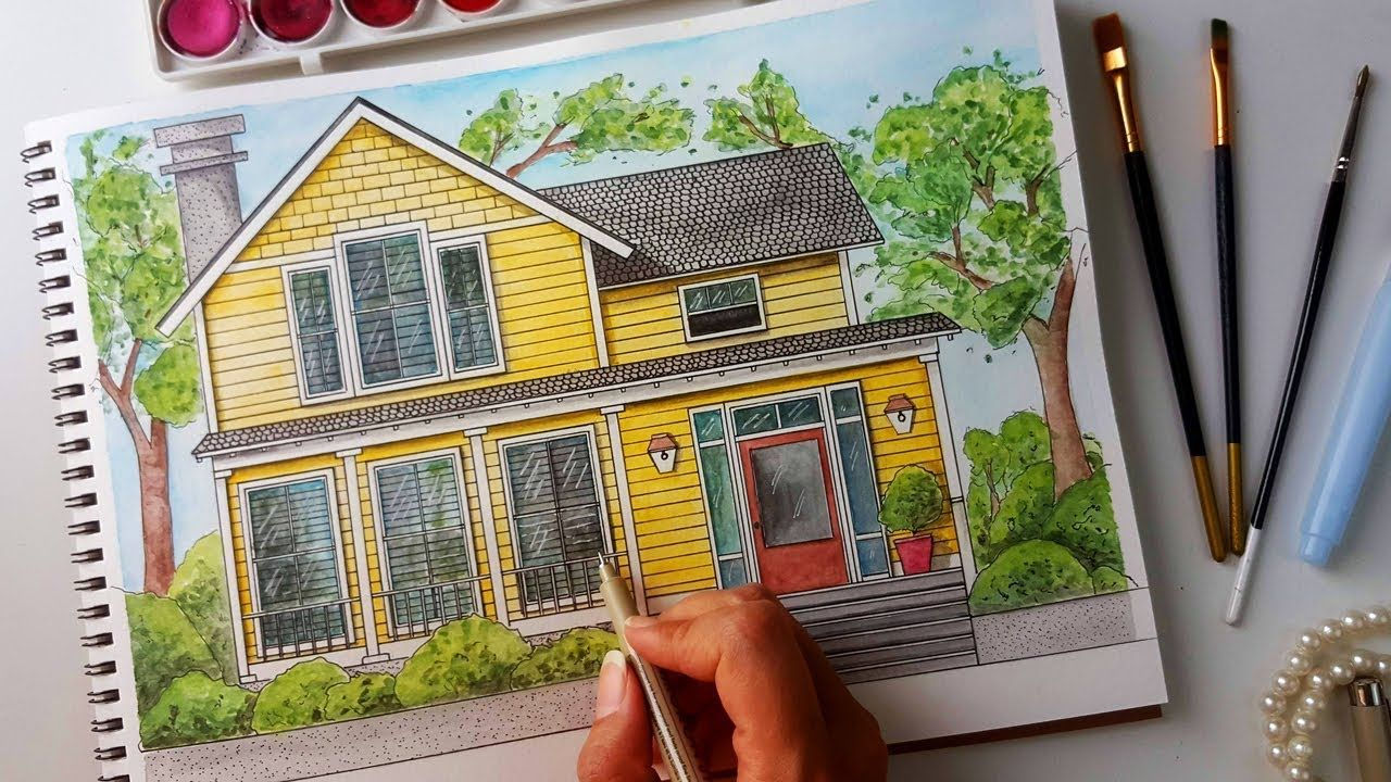 Drawing A House 01 Architecture Sketching Watercolor House