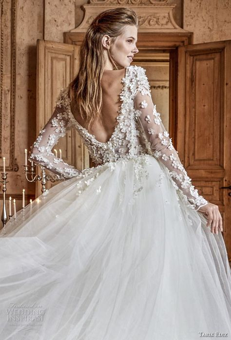Tarik Ediz White 2017 Wedding Dresses Chapel Train Ball Gowns And