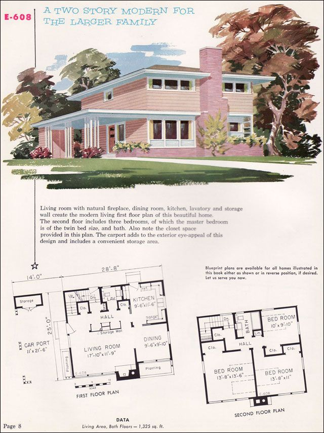 Mid century modern house plans 1955 national plan service plan no e