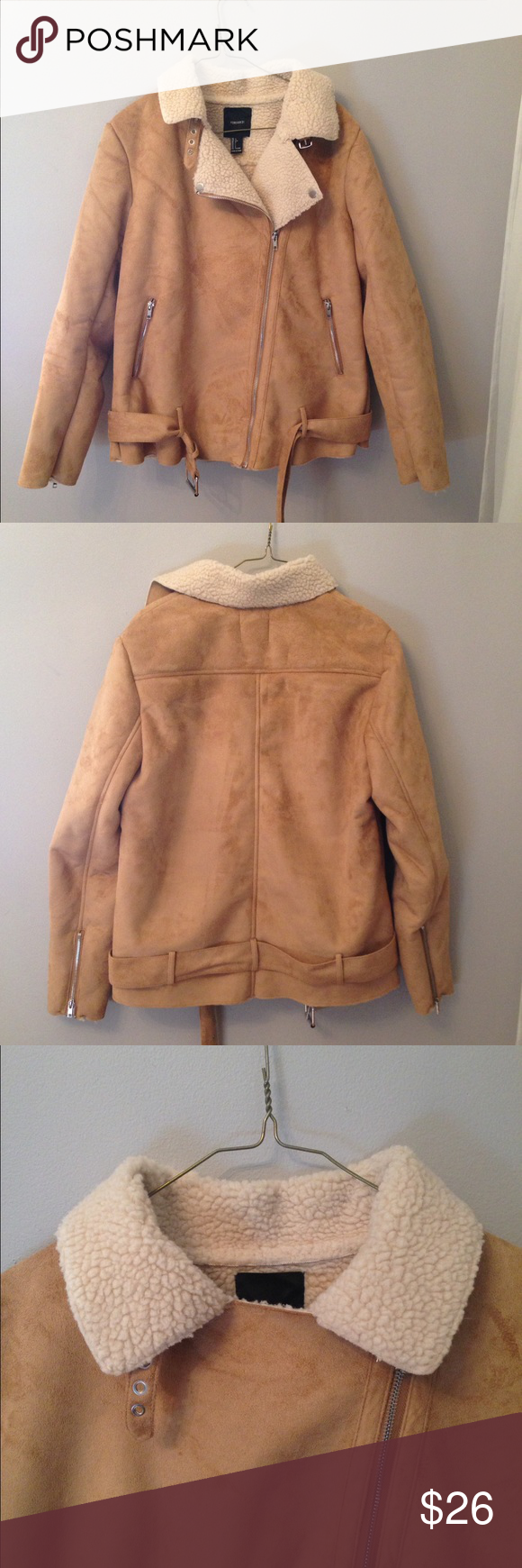 Faux Suede Coat A fully lined, faux suede exterior coat. Zipper pockets, and a cute little buckle around the neck. Comes with a removable belt. Never worn. Forever 21 Jackets & Coats