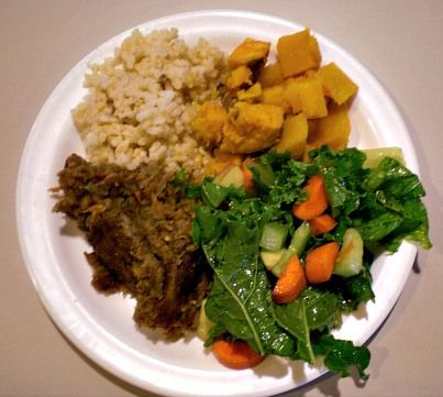 Sourdough Lentil Casserole, Crunchy Kale Salad, Roasted Squash & Sweet Potatoes, and Brown Rice. #Veganmofo #vegan.