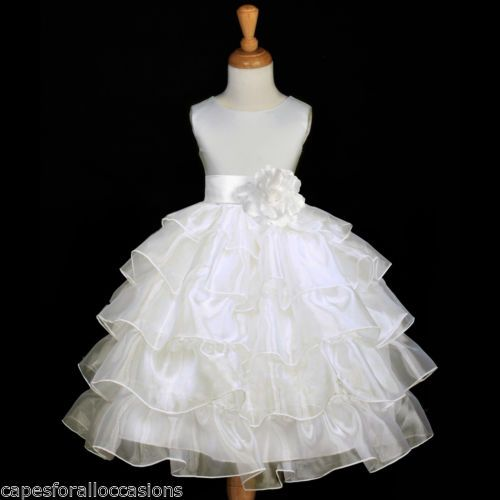 Ivory Pageant Wedding Tiered Organza Flower Girl Dress 2 2T 3 4 4T 5 6 7 8 9 10 | eBay