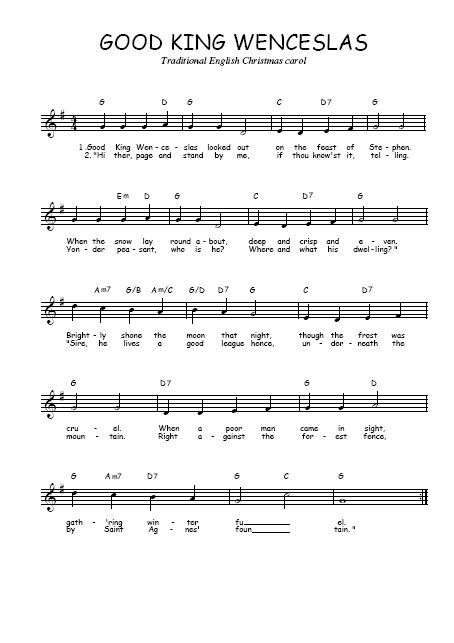Download the free sheet music Good king Wenceslas from England in