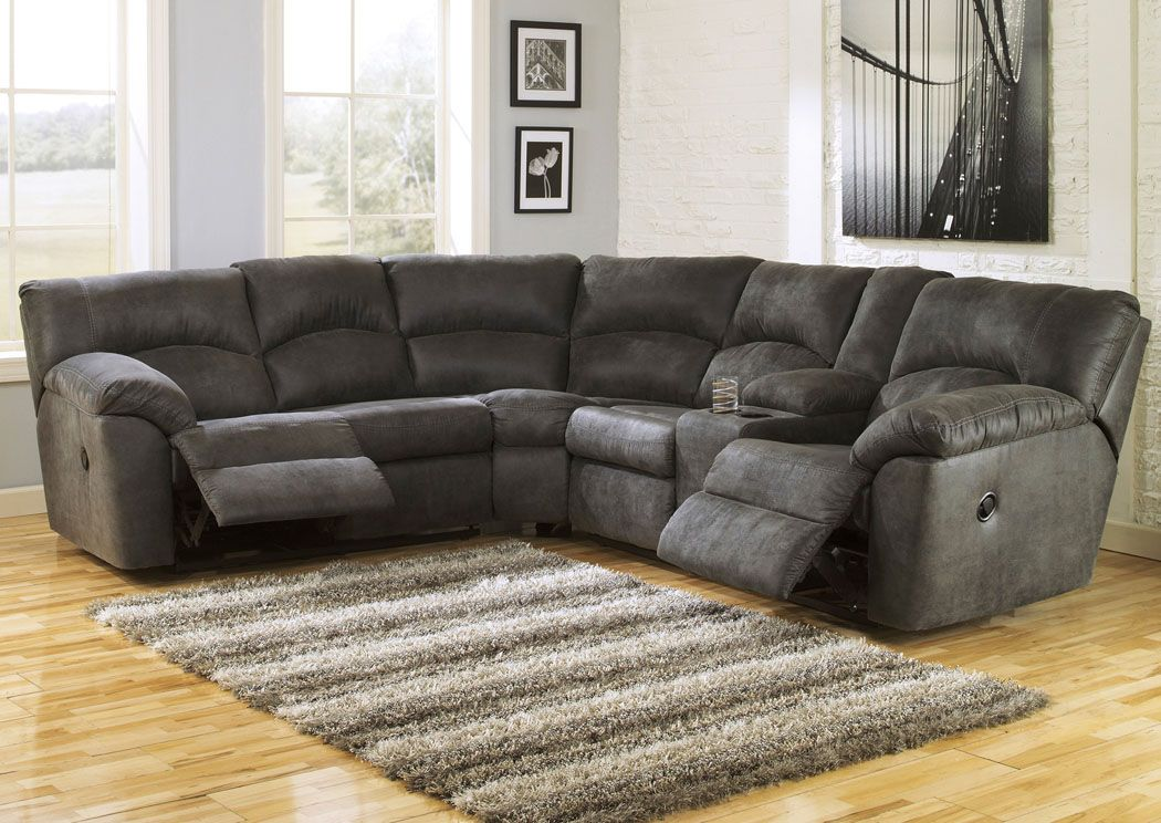 Ready For Game Day Tambo Pewter Reclining Sectional Sectional Sofa With Recliner Ashley Furniture Living Room Reclining Sectional