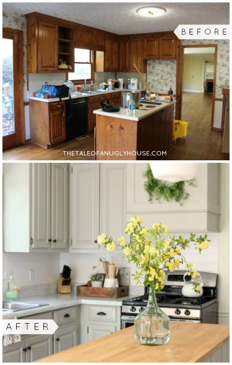 Stunning Before After Diy Kitchen Remodel For Under 500 Painted Countertops Cabinets Budget Kitchen Remodel Diy Kitchen Remodel Kitchen Remodel Small
