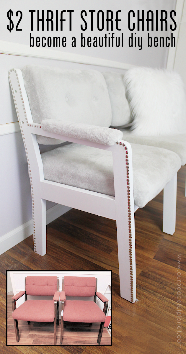 2 Thrift Store Chairs To Gorgeous Diy Bench Seat Furniture