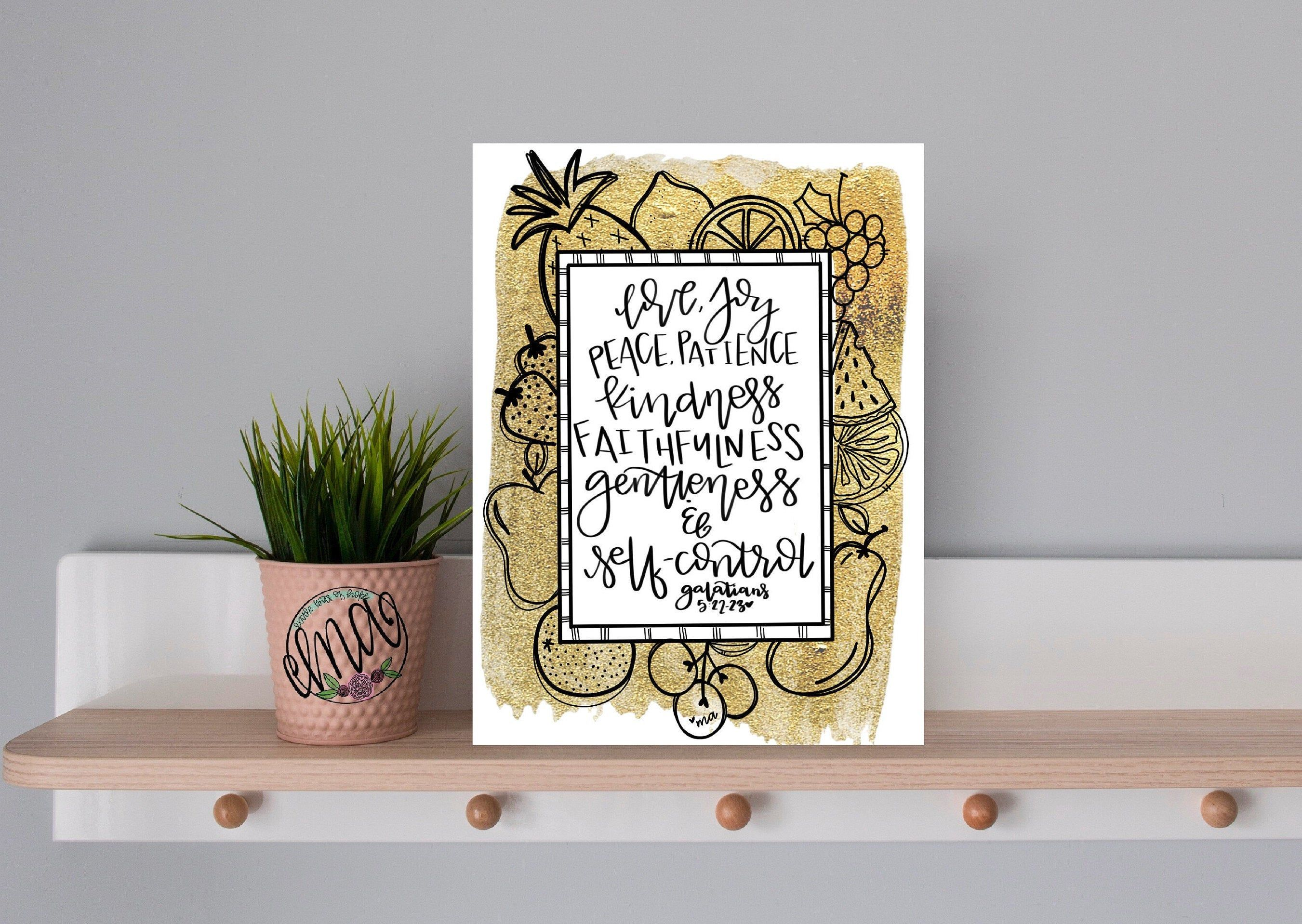 Fruit of the spirit galatians 52223 hand lettered and