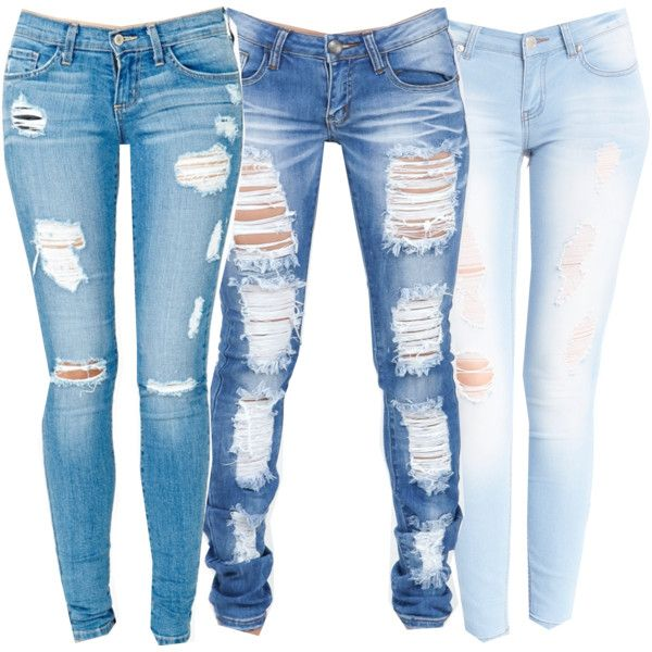 Ripped denim jeans polyvore