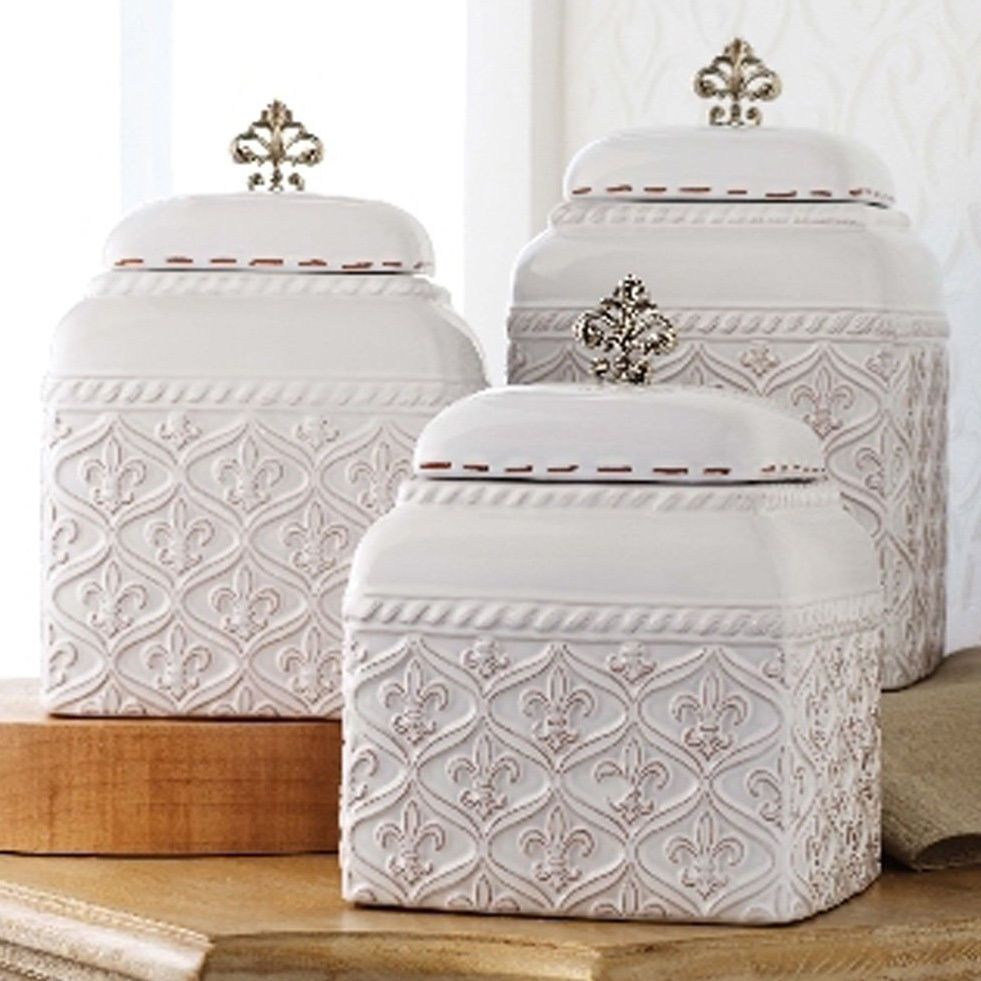 Set 3 Mud Pie Fleur De Lis Kitchen Canisters Set Ceramic Metal Knobs | EBay