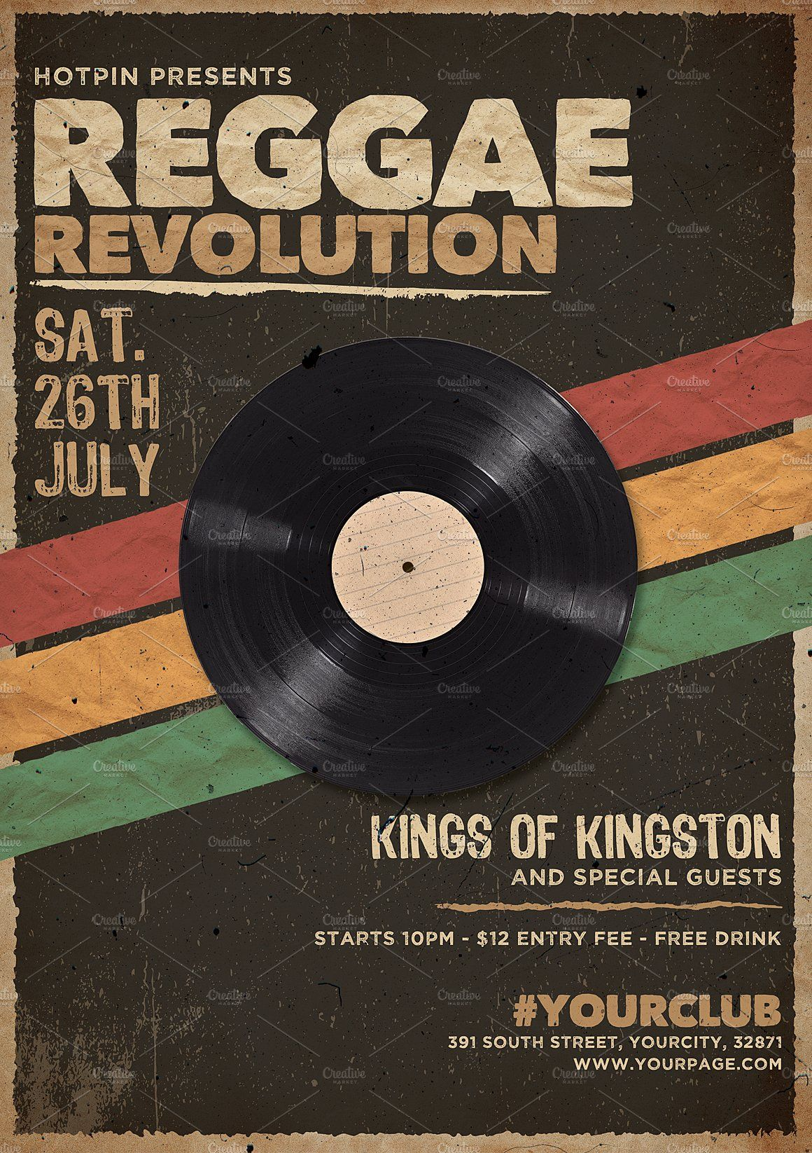 Reggae Party Flyer Template Vintage Poster Design Reggae Party