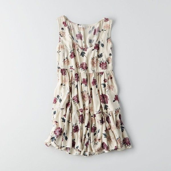 AE Floral Babydoll Dress ($16) ❤ liked on Polyvore featuring dresses, white, babydoll dress, floral dresses, doll dress, frilly dresses and tiered ruffle dress