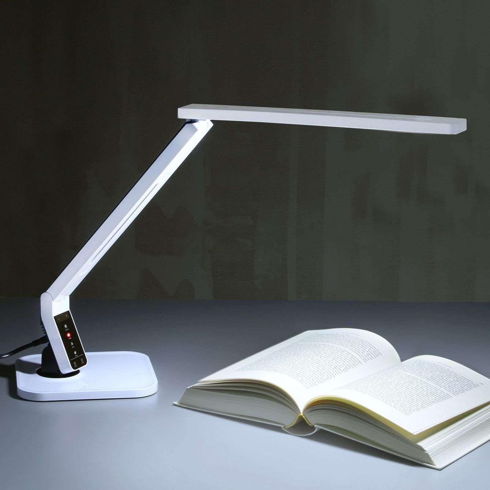 Lampe De Bureau Led Ultra Moderne Eleni Blanche En 2020 Lampe De Bureau Led Lampe De Bureau Led