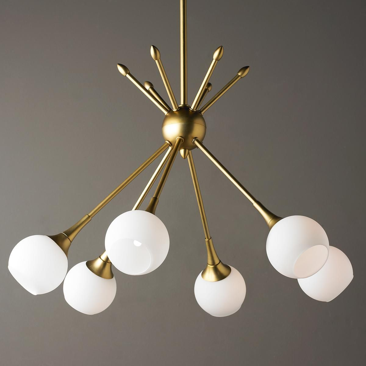 MidCentury Modern Mobile Chandelier 6 Lt Golden Brass Or Brushed Nickel Rods And Opal Glass Globes