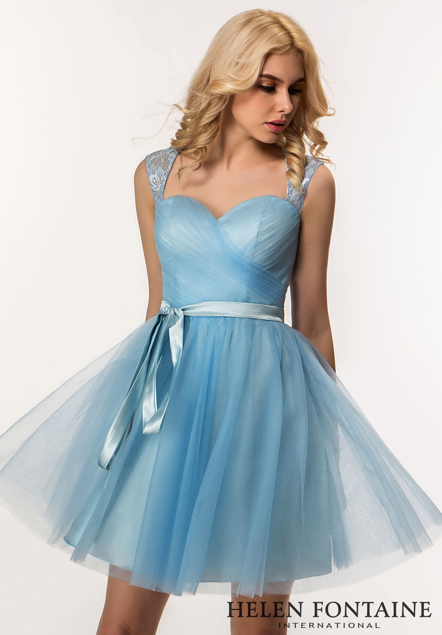 Lace Up Tulle Short Ruched Gown with Sash.Style # HFB2678 ...