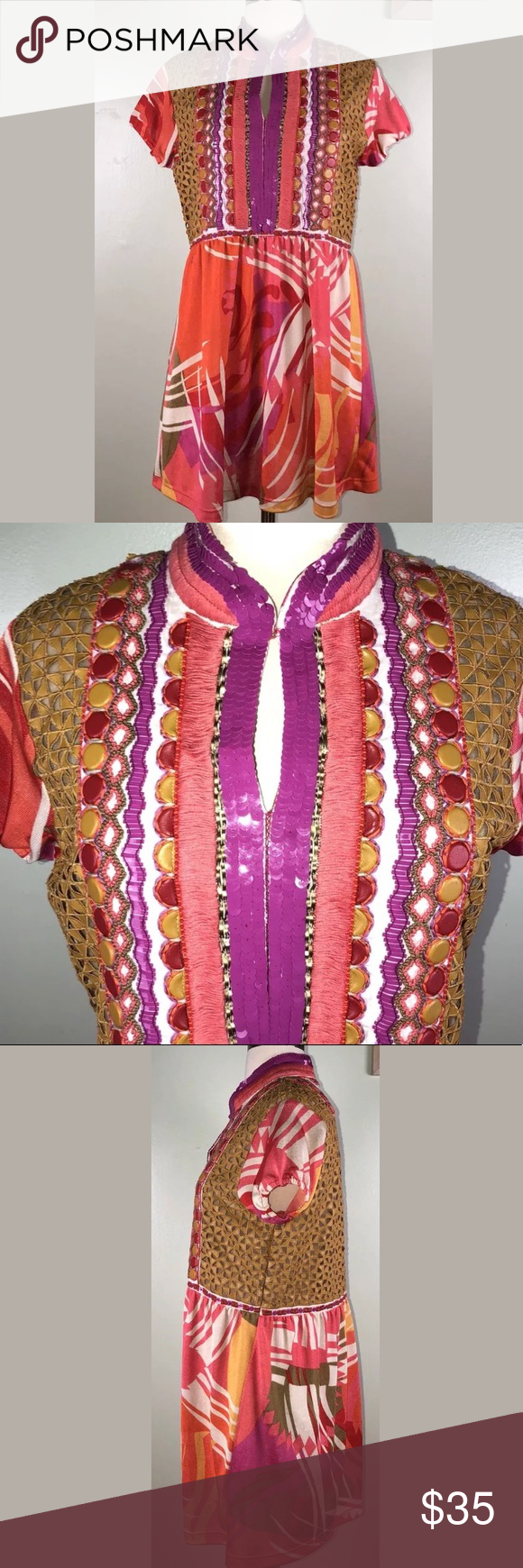"""f1a3154da43 Ranna Gill XS Tunic Boho Bling Indian Excellent flawless condition. Beautiful  sequins and beadwork. Measured lying flat: armpit to armpit 18""""."""