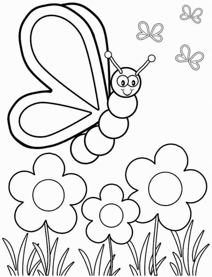 Kindergarten Coloring Pages Free - Free Coloring Sheets Butterfly Coloring  Page, Spring Coloring Pages, Spring Coloring Sheets
