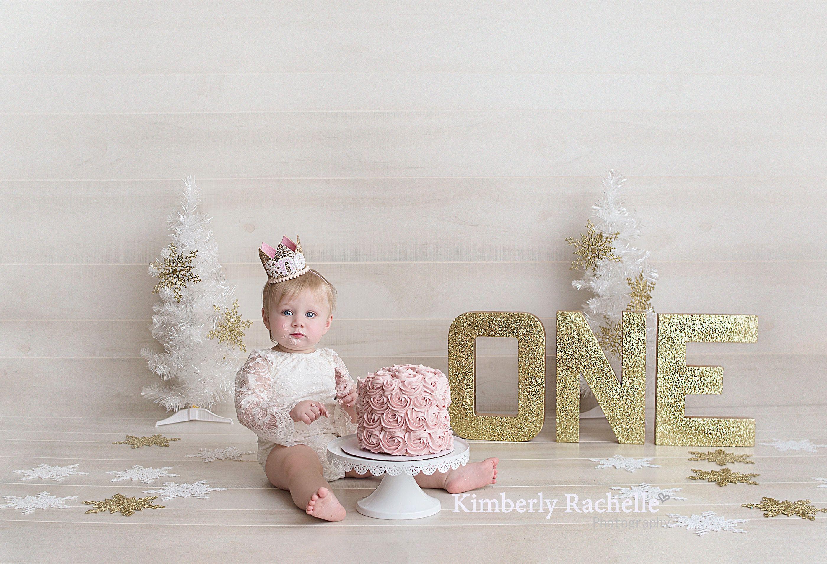 First 1st birthday photography session baby girl winter wonderland birthday