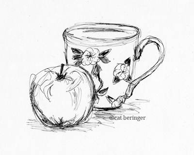 pen, sketch, drawing, still life, apple, cup, ink, simple   Art That