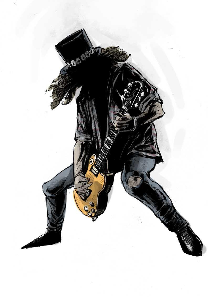 Sketch of Slash in action rock