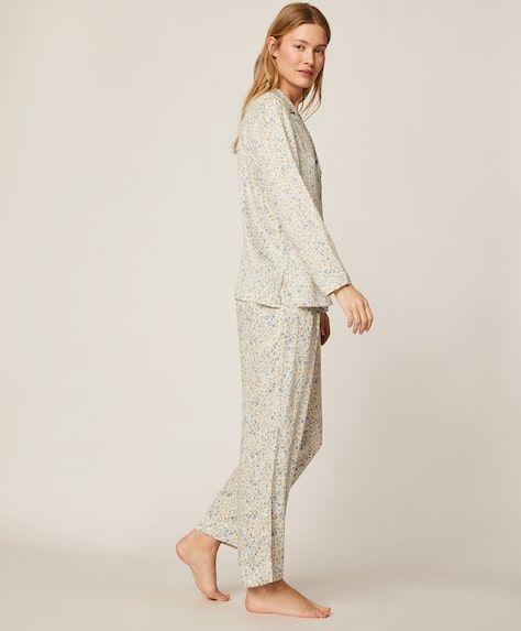 Photo of Ecru bottom flower pants – New – Pajamas and homewear   Oysho Spain