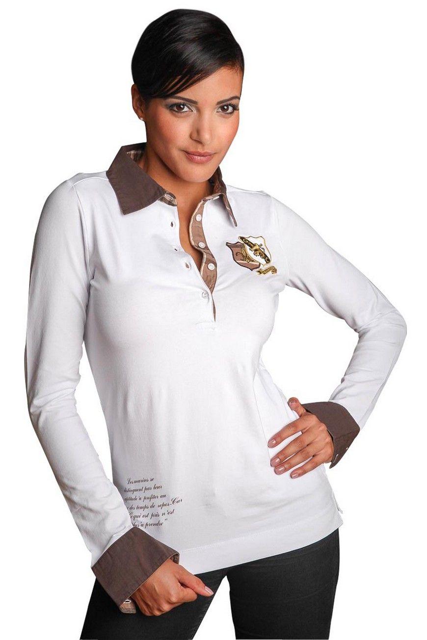 Femme Blanc Uni Boutonnage Polo Combine Patte De Et Idéalement ZiuPkX