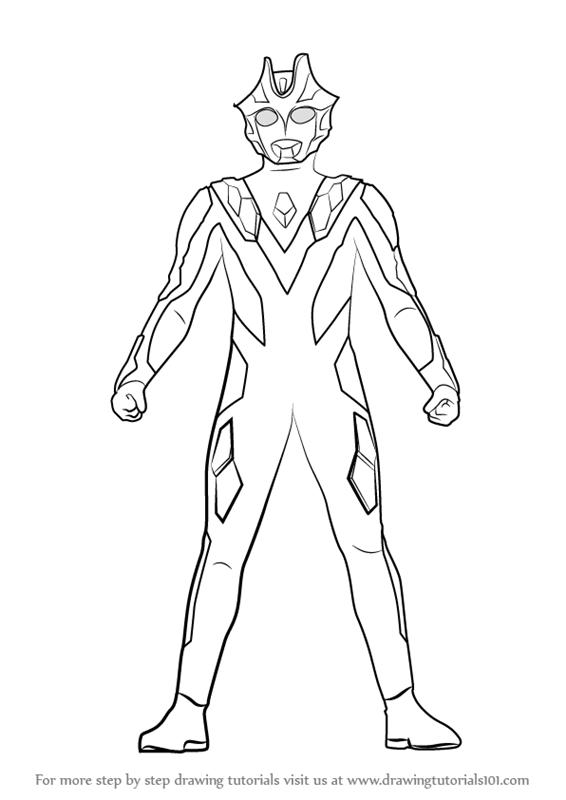 Learn How To Draw Ultraman Xenon Ultraman Step By Step Drawing Tutorials Cara Menggambar Buku Mewarnai Gambar