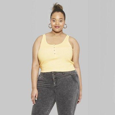 9c3f1f4e731c1 Women s Plus Size Sleeveless Snap Placket Tank Top - Wild Fable Straw  Yellow 4X