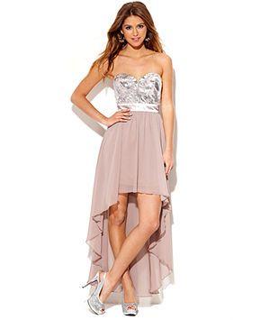 As U Wish Juniors Dress Strapless Sequin High Low Juniors Dresses