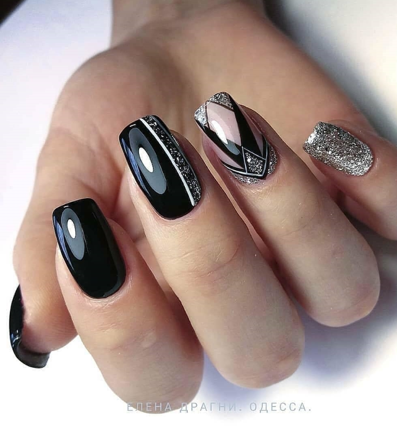 33 Natural Acrylic Black Almond Square Nail Designs For Short Nails Square Nail Designs Silver Nails Nail Designs