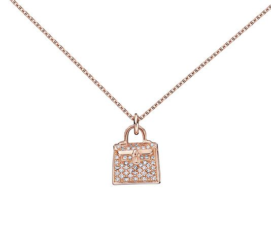 24aba6e58bf High jewelry and jewelry. Kelly Charm Pendant Hermes pendant in rose gold  with diamonds (0.21 ct). Adjustable from 15