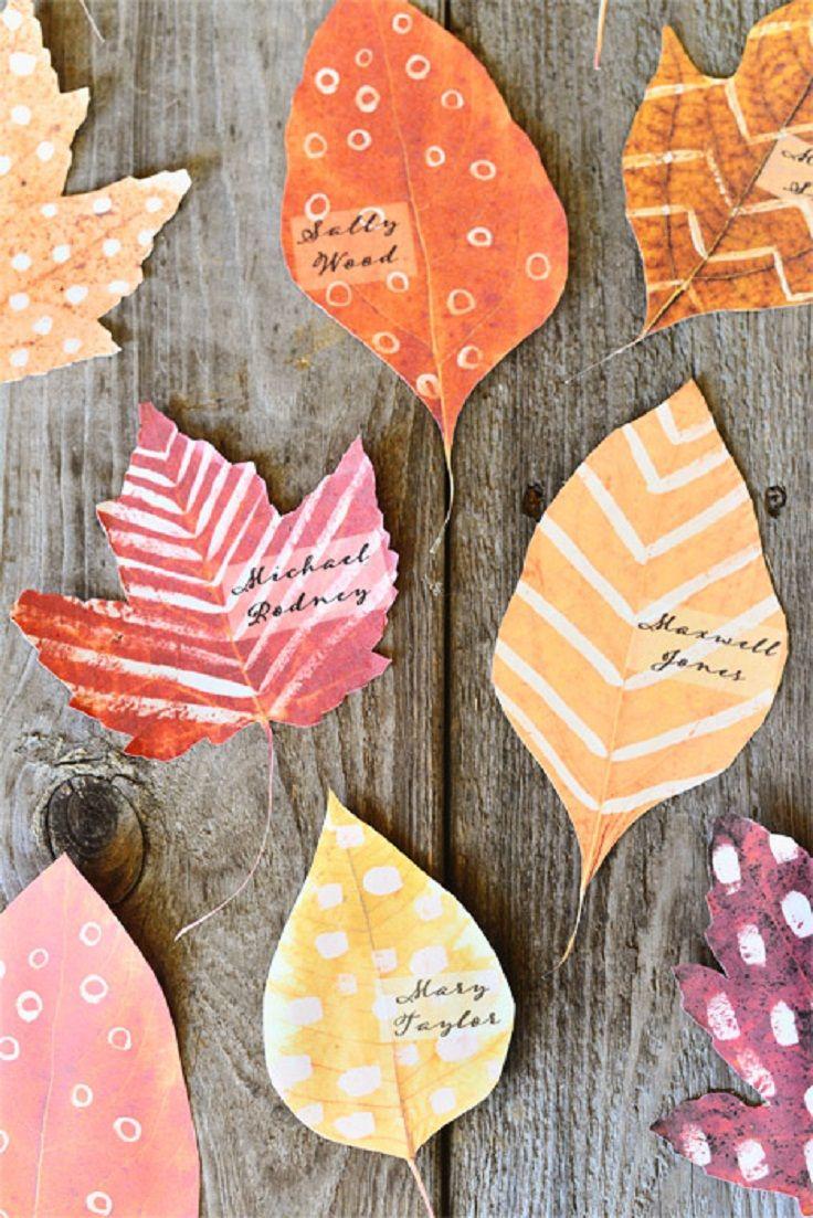 Diy Printable Leaf Place Cards An
